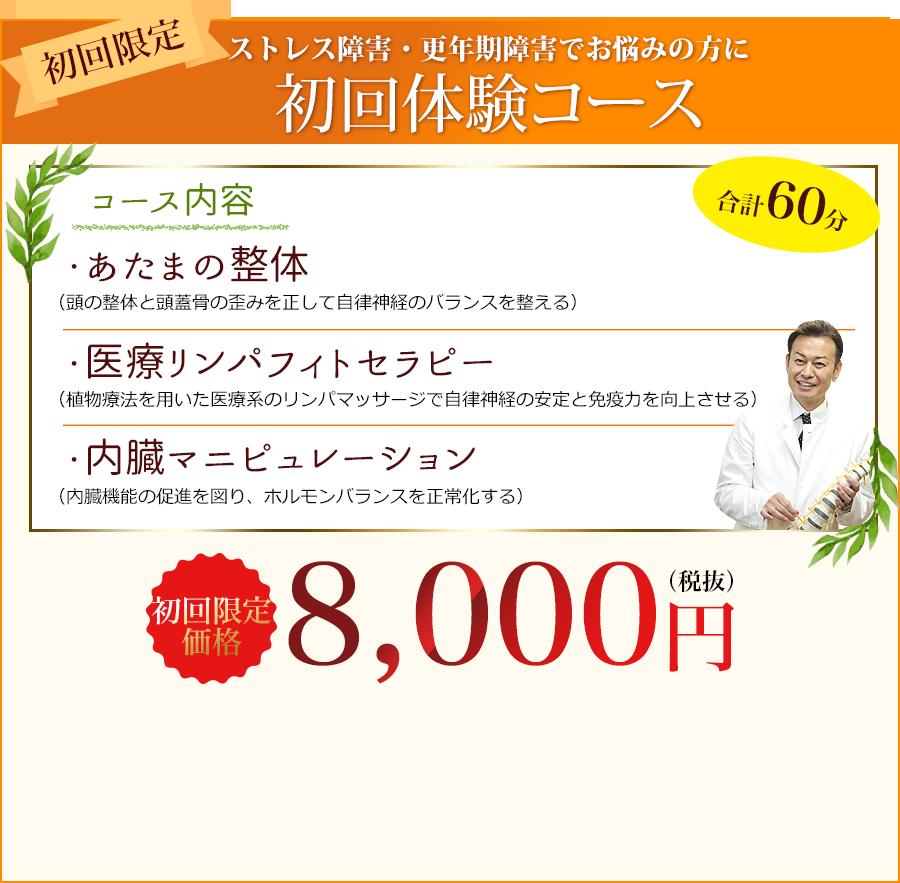 初回体験コース「あたまの整体」「医療リンパフィトセラピー」「内臓マニピュレーション」初回限定価格8,000円